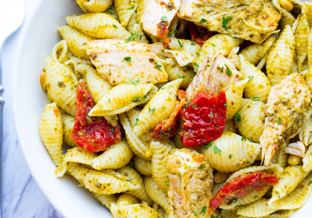 Chicken Pesto Pasta with Sun Dried Tomatoes